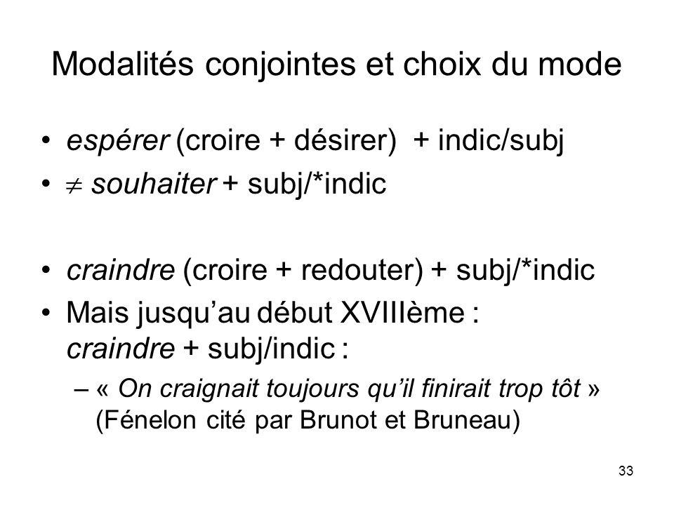 33 Modalités conjointes et choix du mode espérer (croire + désirer) + indic/subj souhaiter + subj/*indic craindre (croire + redouter) + subj/*indic Ma