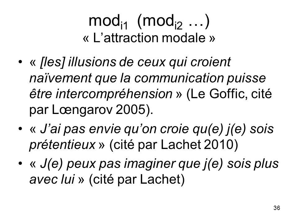 36 mod i1 (mod i2 …) « Lattraction modale » « [les] illusions de ceux qui croient naïvement que la communication puisse être intercompréhension » (Le
