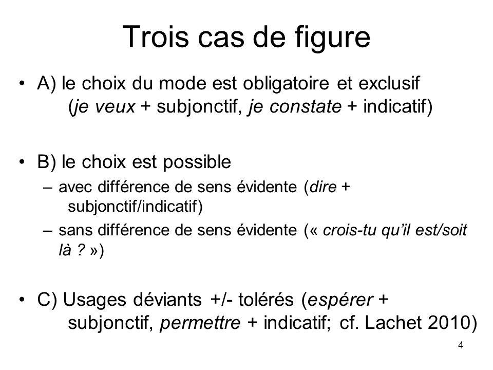 4 Trois cas de figure A) le choix du mode est obligatoire et exclusif (je veux + subjonctif, je constate + indicatif) B) le choix est possible –avec d