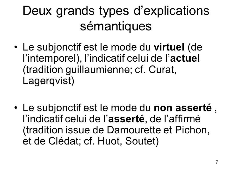 7 Deux grands types dexplications sémantiques Le subjonctif est le mode du virtuel (de lintemporel), lindicatif celui de lactuel (tradition guillaumie
