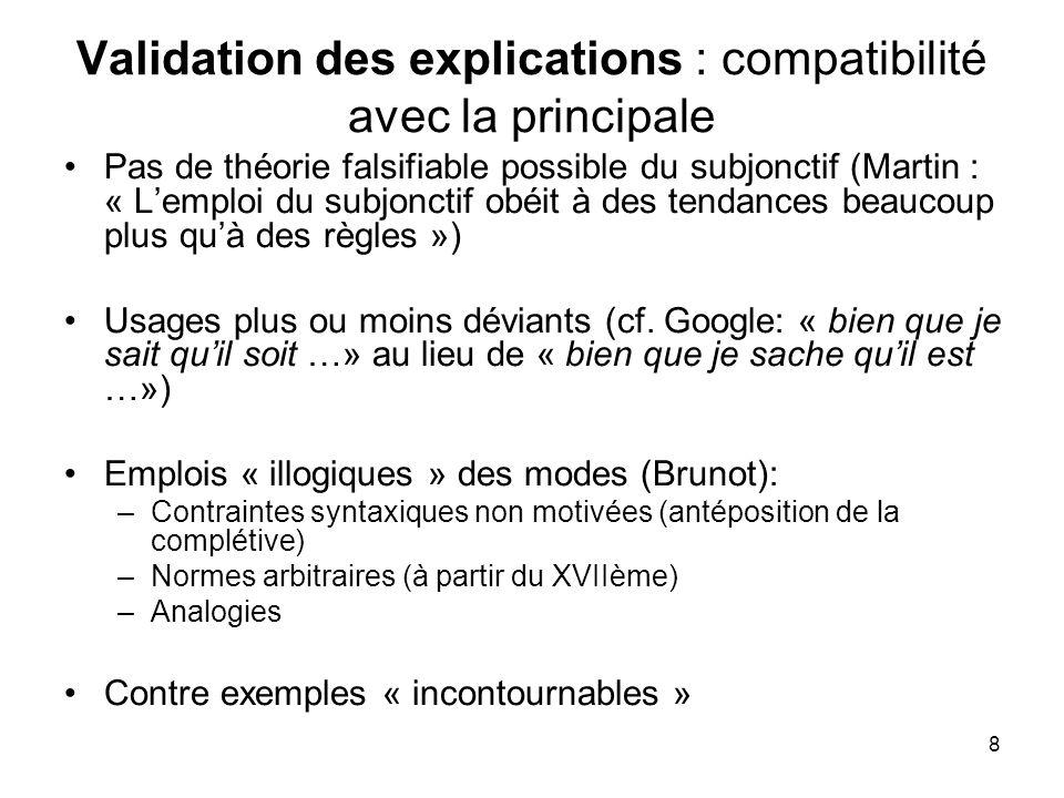 8 Validation des explications : compatibilité avec la principale Pas de théorie falsifiable possible du subjonctif (Martin : « Lemploi du subjonctif o