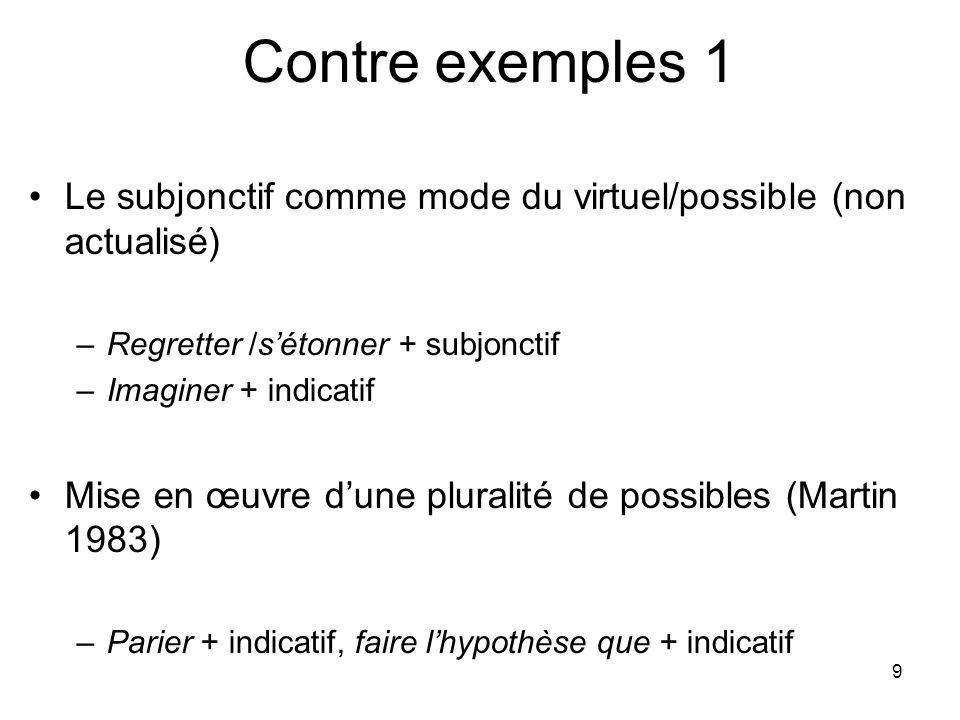 9 Contre exemples 1 Le subjonctif comme mode du virtuel/possible (non actualisé) –Regretter /sétonner + subjonctif –Imaginer + indicatif Mise en œuvre