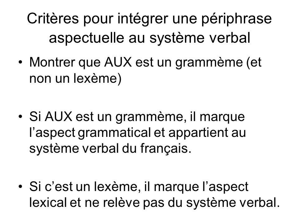 Critères pour intégrer une périphrase aspectuelle au système verbal Montrer que AUX est un grammème (et non un lexème) Si AUX est un grammème, il marq