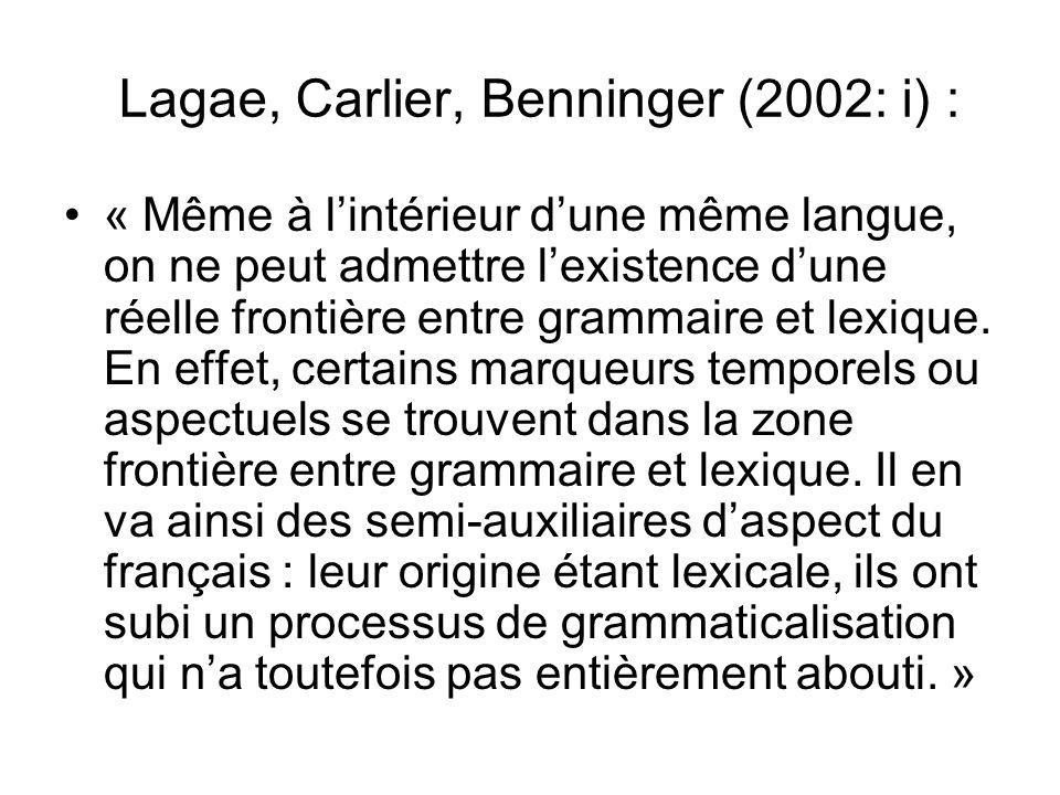 Lagae, Carlier, Benninger (2002: i) : « Même à lintérieur dune même langue, on ne peut admettre lexistence dune réelle frontière entre grammaire et le