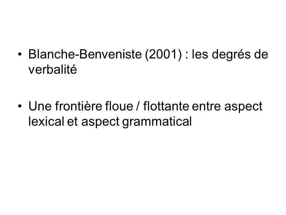 Blanche-Benveniste (2001) : les degrés de verbalité Une frontière floue / flottante entre aspect lexical et aspect grammatical