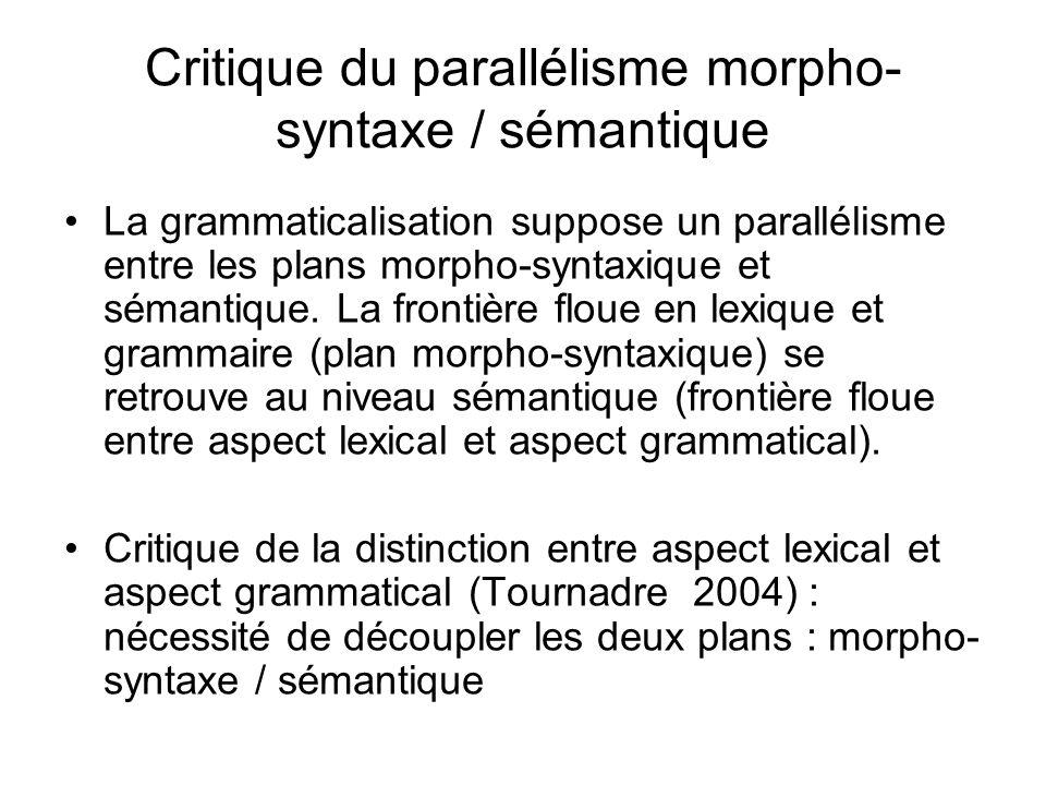 Critique du parallélisme morpho- syntaxe / sémantique La grammaticalisation suppose un parallélisme entre les plans morpho-syntaxique et sémantique. L