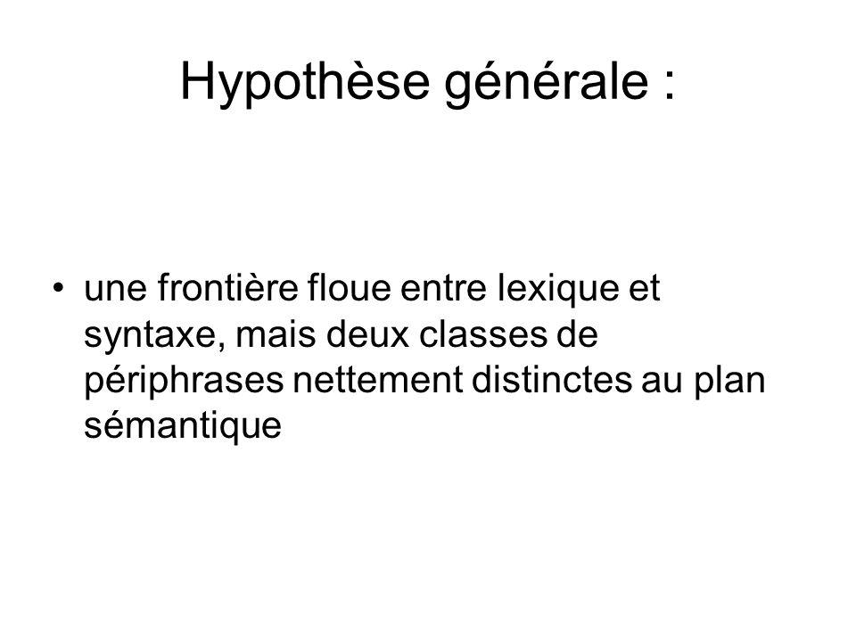 Hypothèse générale : une frontière floue entre lexique et syntaxe, mais deux classes de périphrases nettement distinctes au plan sémantique