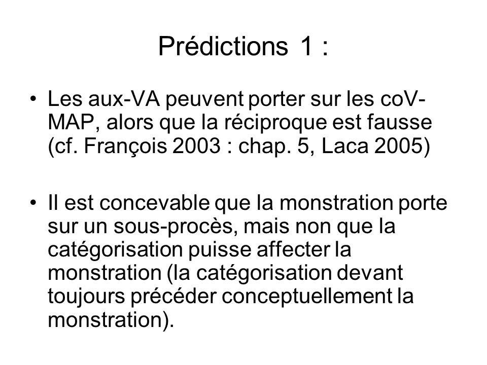 Prédictions 1 : Les aux-VA peuvent porter sur les coV- MAP, alors que la réciproque est fausse (cf. François 2003 : chap. 5, Laca 2005) Il est conceva