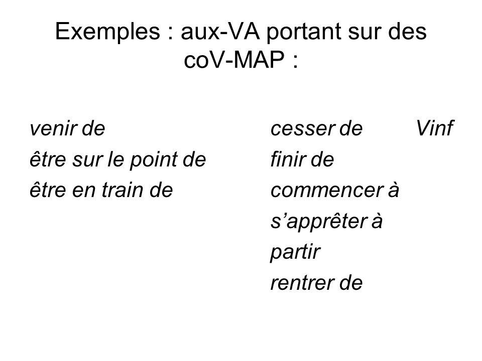 Exemples : aux-VA portant sur des coV-MAP : venir decesser deVinf être sur le point definir de être en train decommencer à sapprêter à partir rentrer