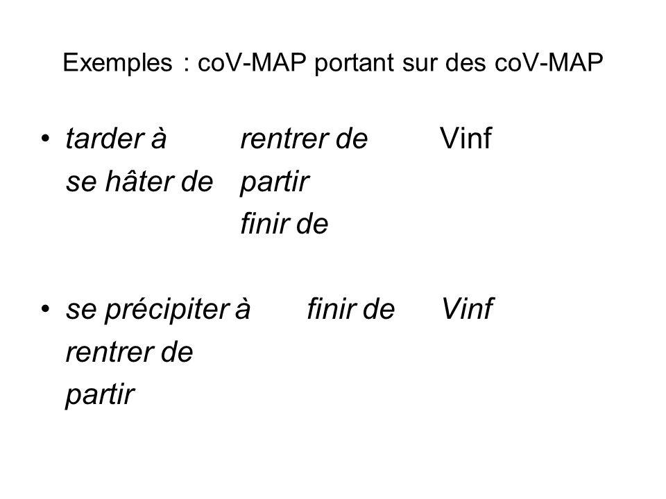 Exemples : coV-MAP portant sur des coV-MAP tarder àrentrer deVinf se hâter departir finir de se précipiter àfinir deVinf rentrer de partir