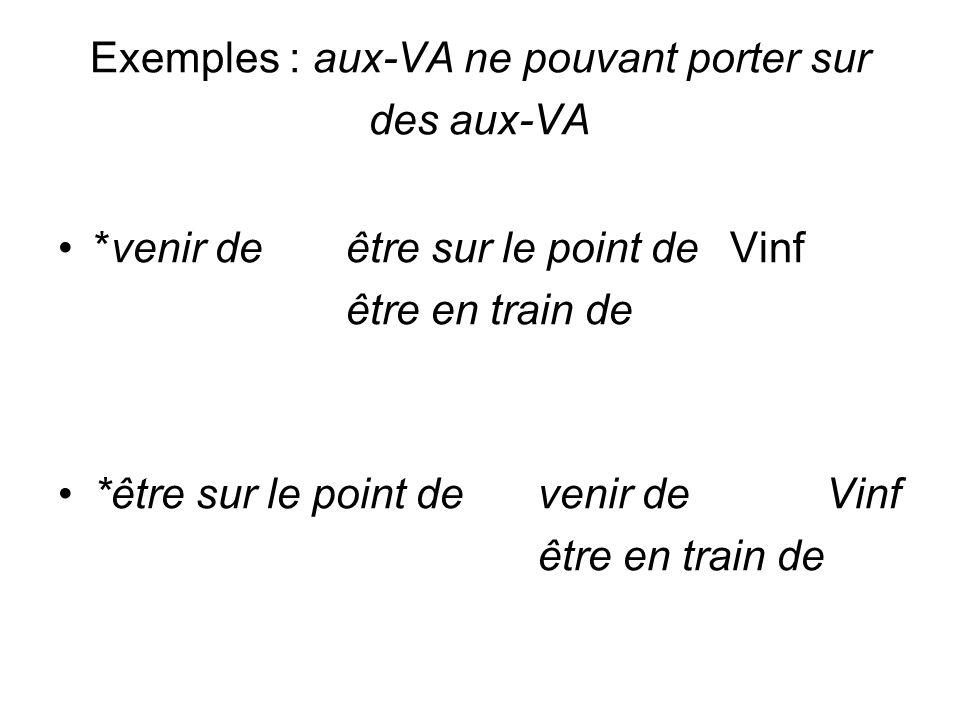Exemples : aux-VA ne pouvant porter sur des aux-VA *venir deêtre sur le point deVinf être en train de *être sur le point devenir deVinf être en train
