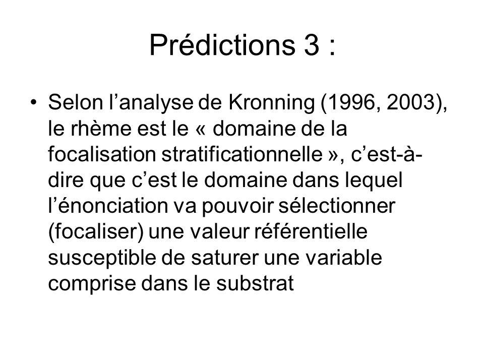 Prédictions 3 : Selon lanalyse de Kronning (1996, 2003), le rhème est le « domaine de la focalisation stratificationnelle », cest-à- dire que cest le