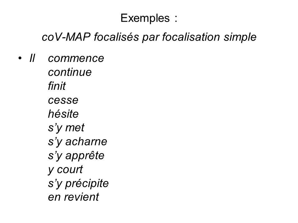 Exemples : coV-MAP focalisés par focalisation simple Il commence continue finit cesse hésite sy met sy acharne sy apprête y court sy précipite en revi