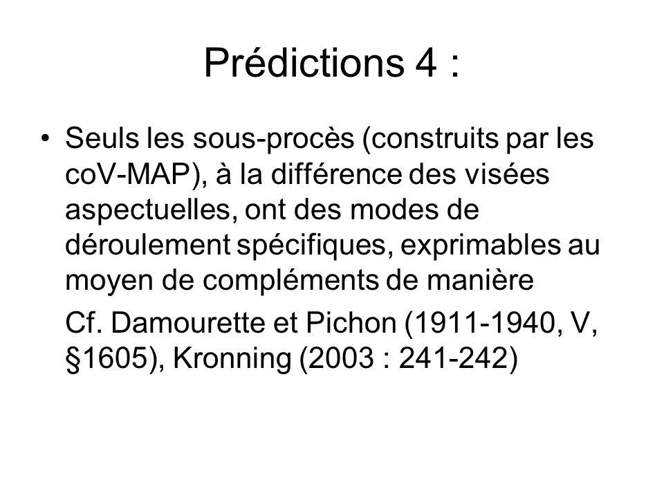 Prédictions 4 : Seuls les sous-procès (construits par les coV-MAP), à la différence des visées aspectuelles, ont des modes de déroulement spécifiques,
