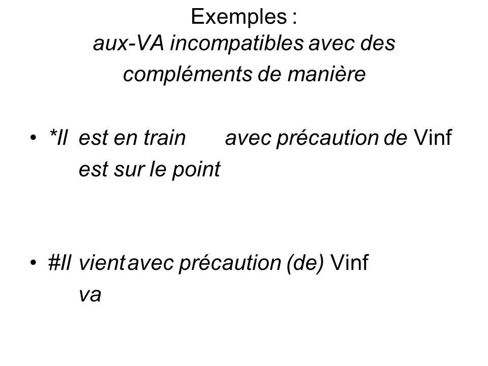 Exemples : aux-VA incompatibles avec des compléments de manière *Ilest en trainavec précaution de Vinf est sur le point #Ilvientavec précaution (de) V