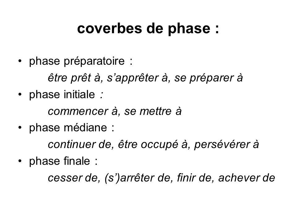 coverbes de phase : phase préparatoire : être prêt à, sapprêter à, se préparer à phase initiale : commencer à, se mettre à phase médiane : continuer d