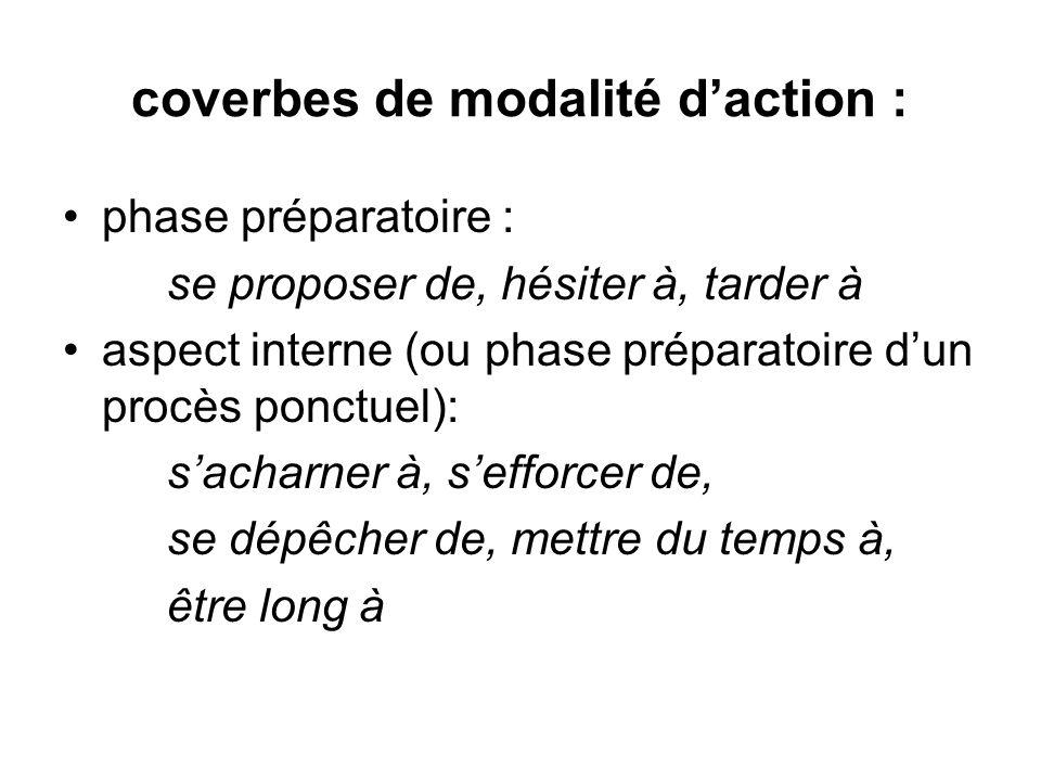 coverbes de modalité daction : phase préparatoire : se proposer de, hésiter à, tarder à aspect interne (ou phase préparatoire dun procès ponctuel): sa