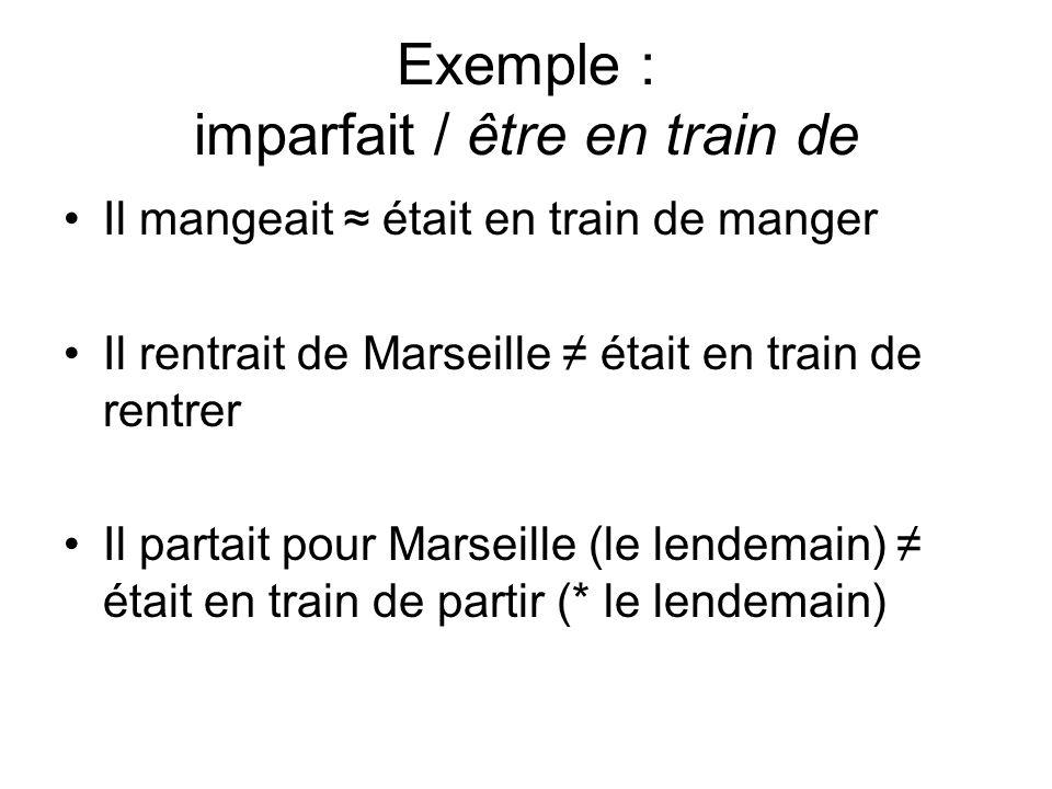 Exemple : imparfait / être en train de Il mangeait était en train de manger Il rentrait de Marseille était en train de rentrer Il partait pour Marseil