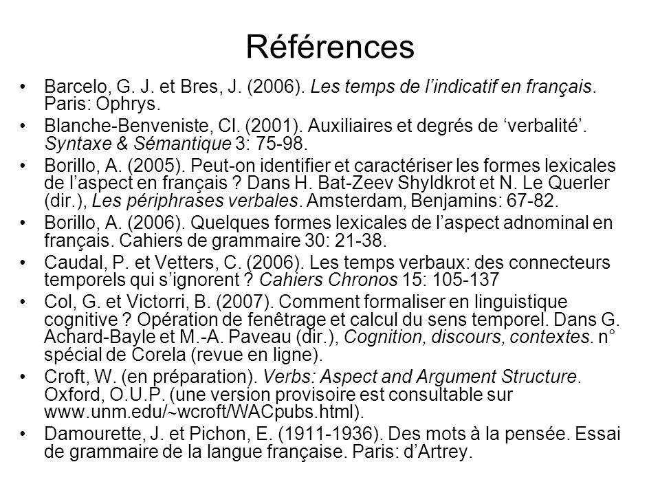 Références Barcelo, G. J. et Bres, J. (2006). Les temps de lindicatif en français. Paris: Ophrys. Blanche-Benveniste, Cl. (2001). Auxiliaires et degré