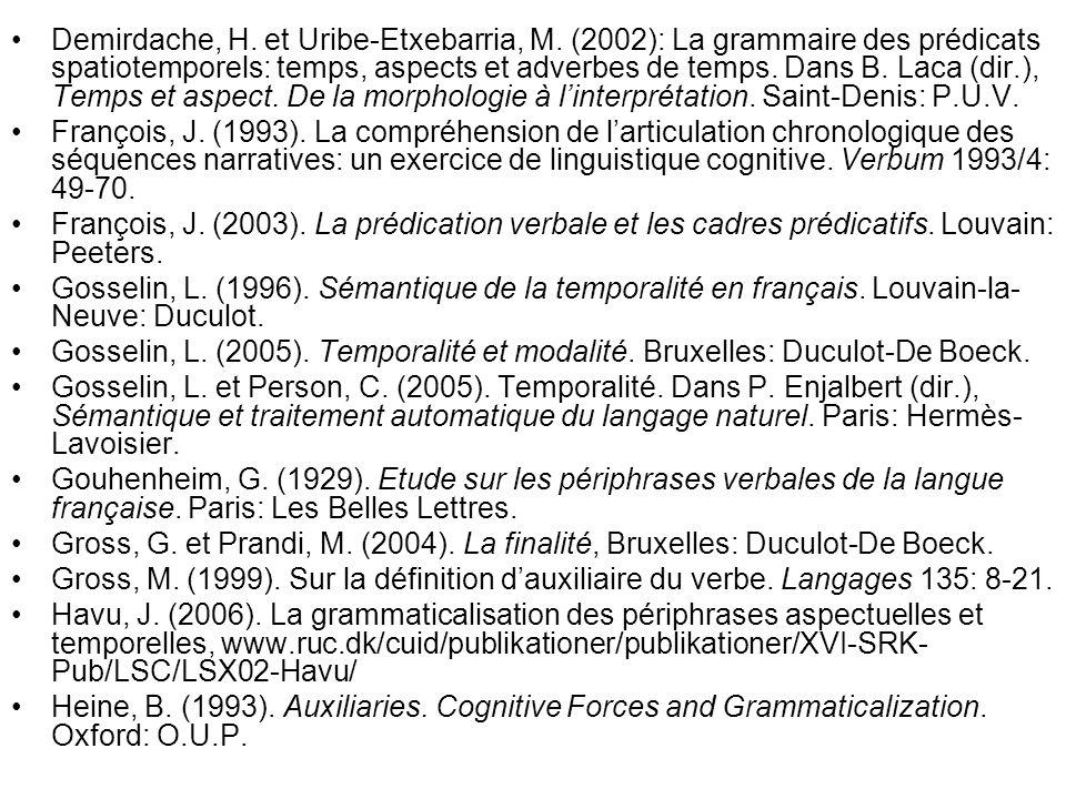 Demirdache, H. et Uribe-Etxebarria, M. (2002): La grammaire des prédicats spatiotemporels: temps, aspects et adverbes de temps. Dans B. Laca (dir.), T