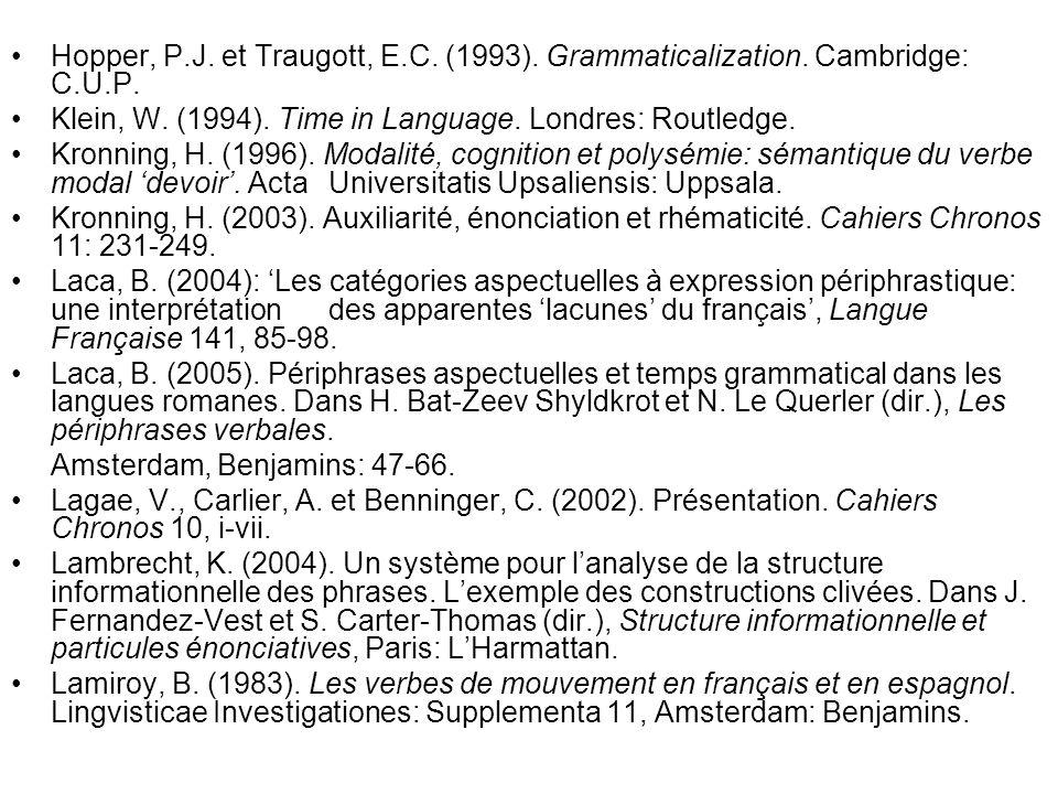 Hopper, P.J. et Traugott, E.C. (1993). Grammaticalization. Cambridge: C.U.P. Klein, W. (1994). Time in Language. Londres: Routledge. Kronning, H. (199