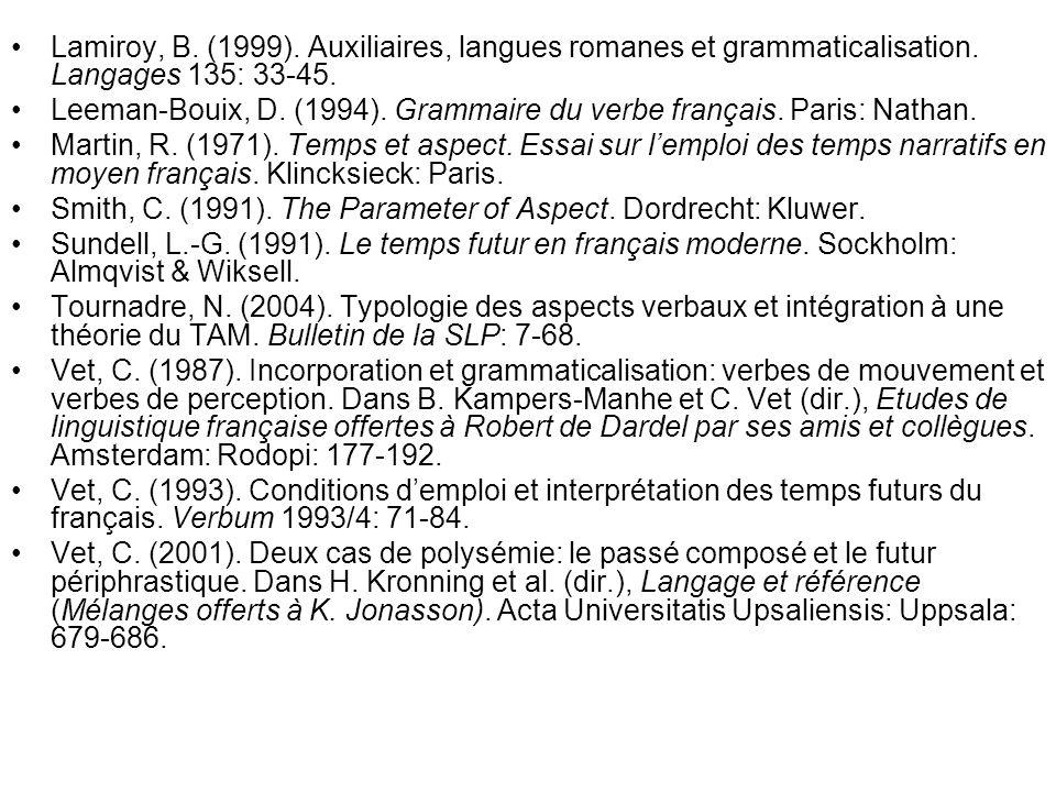 Lamiroy, B. (1999). Auxiliaires, langues romanes et grammaticalisation. Langages 135: 33-45. Leeman-Bouix, D. (1994). Grammaire du verbe français. Par