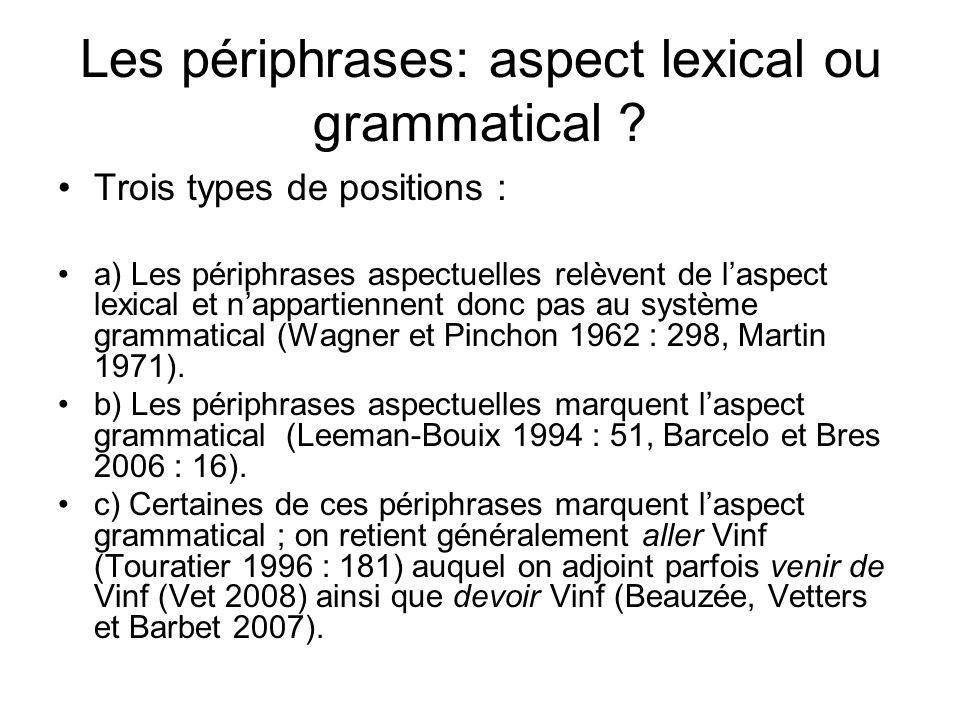 Les périphrases: aspect lexical ou grammatical ? Trois types de positions : a) Les périphrases aspectuelles relèvent de laspect lexical et nappartienn