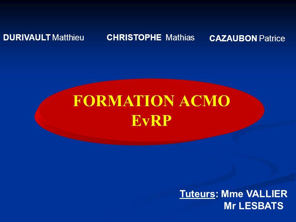 DURIVAULT MatthieuCHRISTOPHE Mathias CAZAUBON Patrice Tuteurs: Mme VALLIER Mr LESBATS FORMATION ACMO EvRP