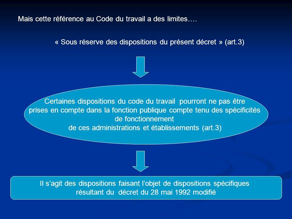 Mais cette référence au Code du travail a des limites…. « Sous réserve des dispositions du présent décret » (art.3) Certaines dispositions du code du