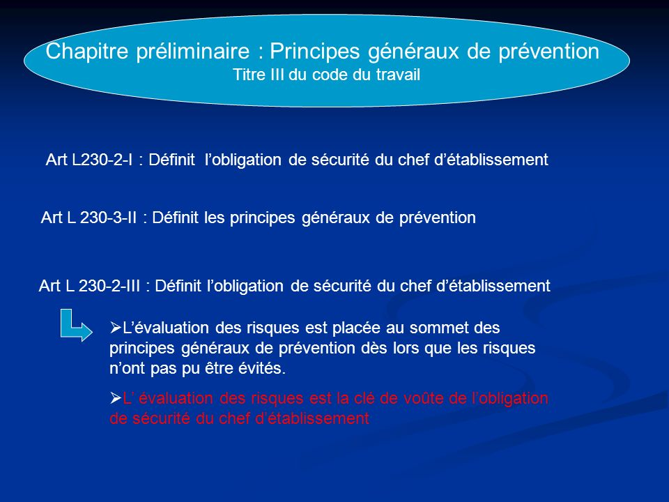 Chapitre préliminaire : Principes généraux de prévention Titre III du code du travail Art L230-2-I : Définit lobligation de sécurité du chef détabliss