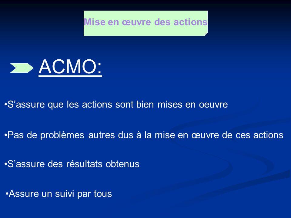 Mise en œuvre des actions Sassure que les actions sont bien mises en oeuvre ACMO: Pas de problèmes autres dus à la mise en œuvre de ces actions Sassur