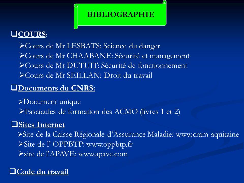 BIBLIOGRAPHIE COURS : Cours de Mr LESBATS: Science du danger Cours de Mr CHAABANE: Sécurité et management Cours de Mr DUTUIT: Sécurité de fonctionneme