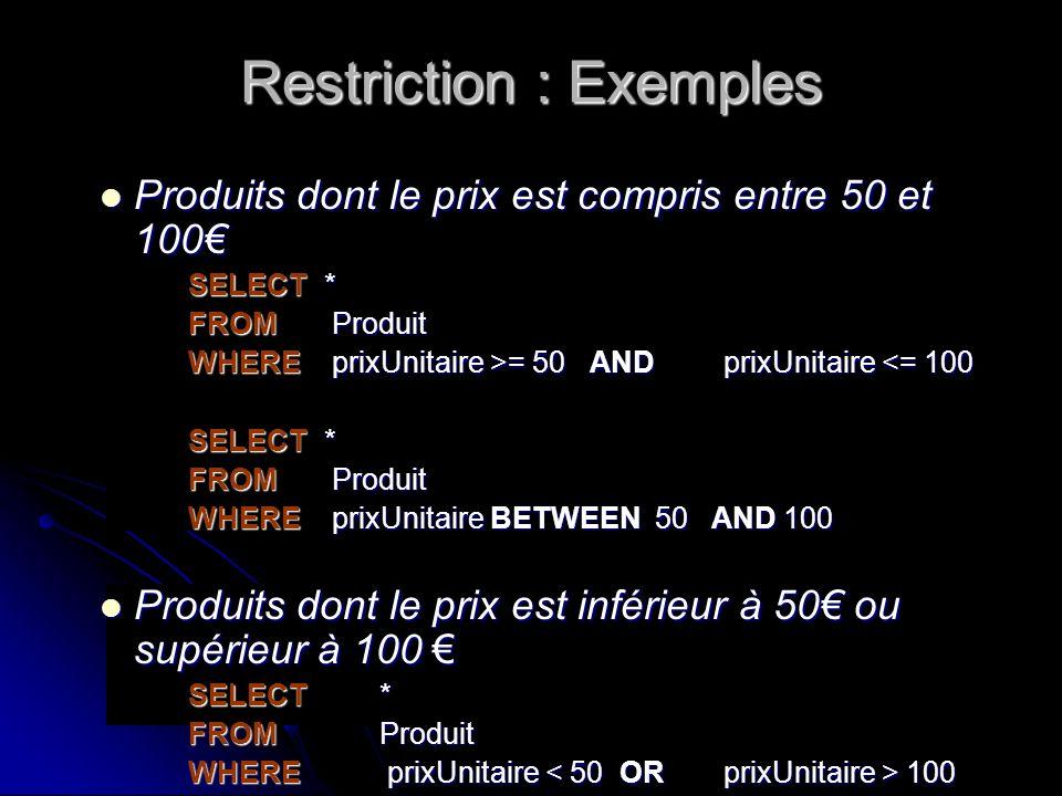 Restriction : Exemples Produits dont le prix est compris entre 50 et 100 Produits dont le prix est compris entre 50 et 100 SELECT * FROM Produit WHERE