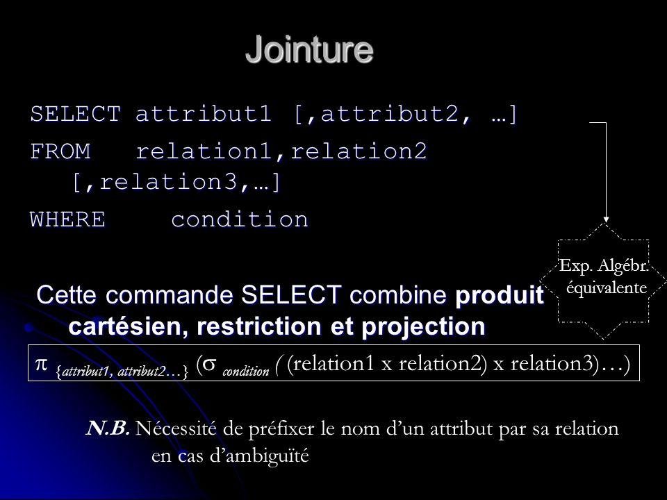 Jointure SELECTattribut1 [,attribut2, …] FROMrelation1,relation2 [,relation3,…] WHEREcondition Cette commande SELECT combine produit cartésien, restri