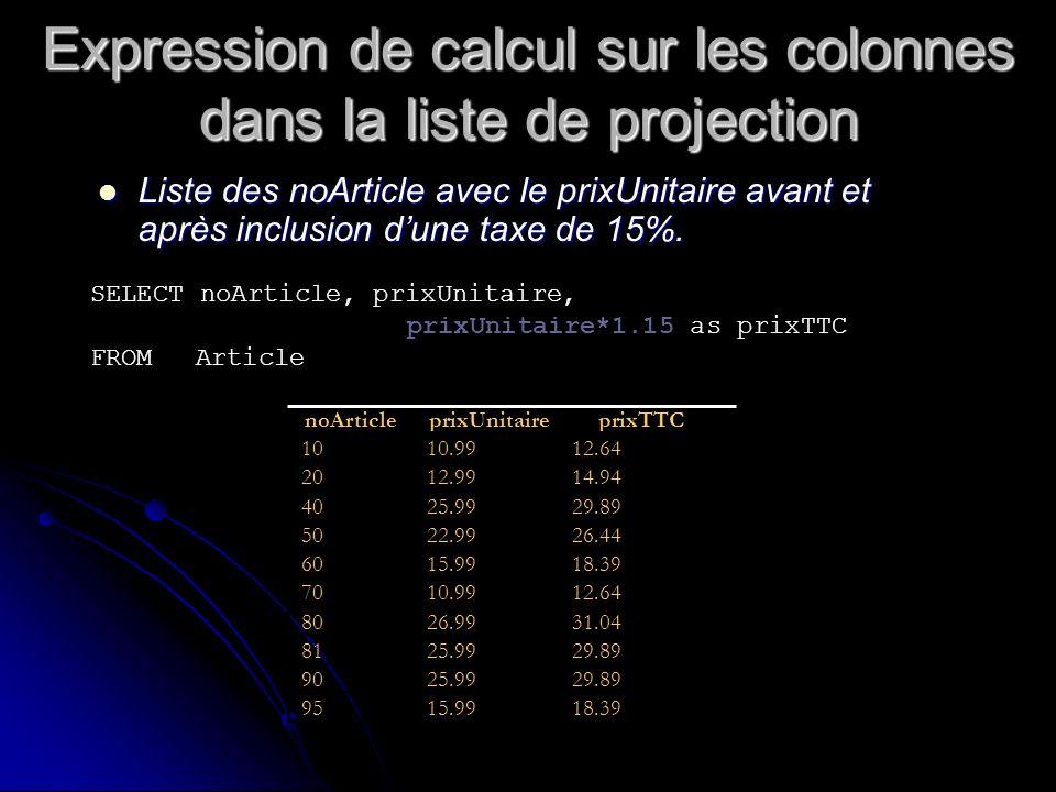 Expression de calcul sur les colonnes dans la liste de projection Liste des noArticle avec le prixUnitaire avant et après inclusion dune taxe de 15%.