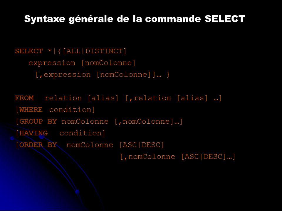 Syntaxe générale de la commande SELECT SELECT *|{[ALL|DISTINCT] expression [nomColonne] [,expression [nomColonne]]… } FROMrelation [alias] [,relation