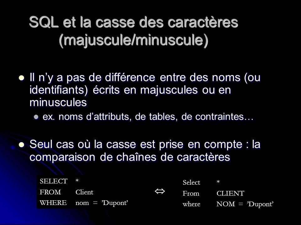 SQL et la casse des caractères (majuscule/minuscule) Il ny a pas de différence entre des noms (ou identifiants) écrits en majuscules ou en minuscules