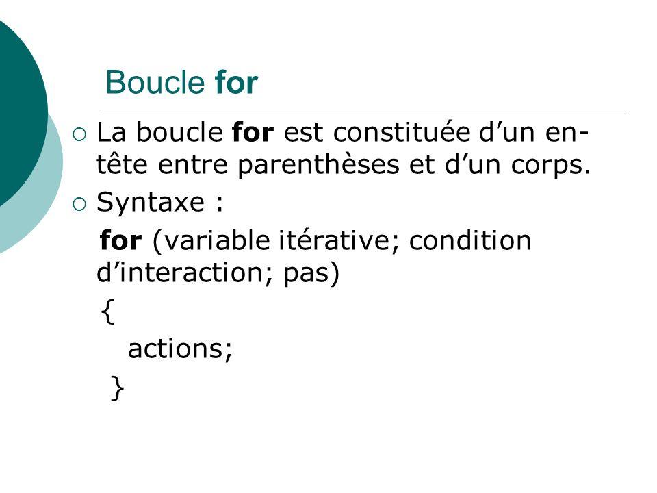Boucle for La boucle for est constituée dun en- tête entre parenthèses et dun corps. Syntaxe : for (variable itérative; condition dinteraction; pas) {
