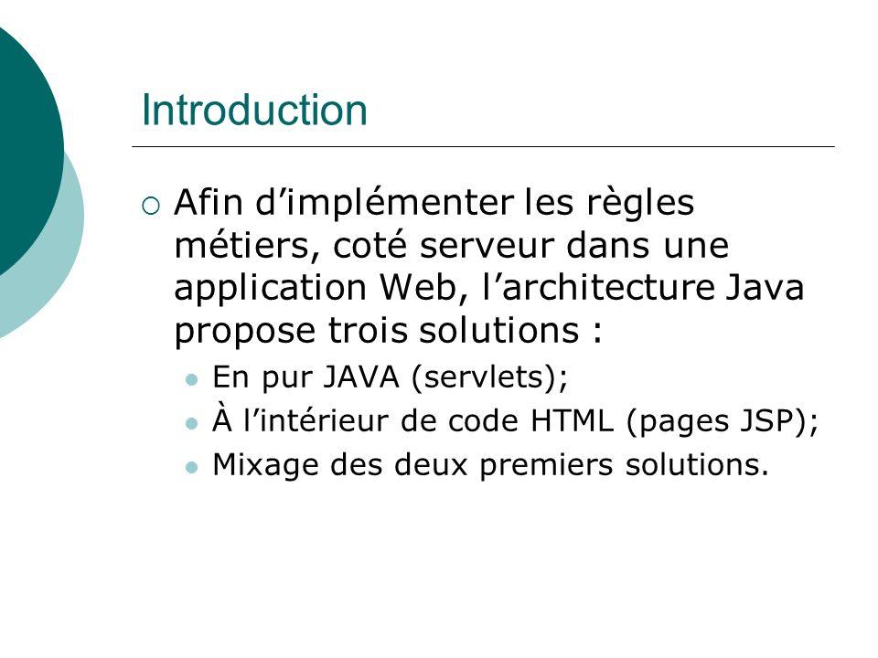 Introduction Afin dimplémenter les règles métiers, coté serveur dans une application Web, larchitecture Java propose trois solutions : En pur JAVA (servlets); À lintérieur de code HTML (pages JSP); Mixage des deux premiers solutions.