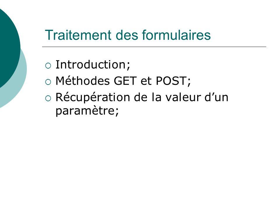 Traitement des formulaires Introduction; Méthodes GET et POST; Récupération de la valeur dun paramètre;