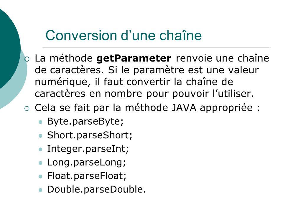 Conversion dune chaîne La méthode getParameter renvoie une chaîne de caractères. Si le paramètre est une valeur numérique, il faut convertir la chaîne