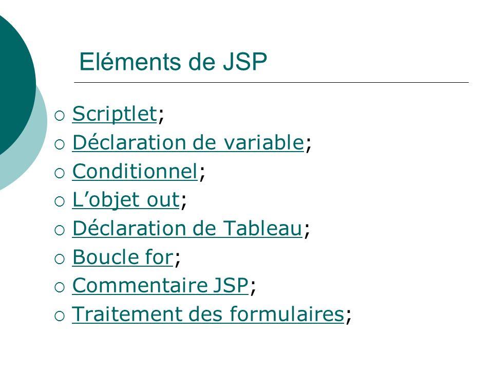 Eléments de JSP Scriptlet; Scriptlet Déclaration de variable; Déclaration de variable Conditionnel; Conditionnel Lobjet out; Lobjet out Déclaration de
