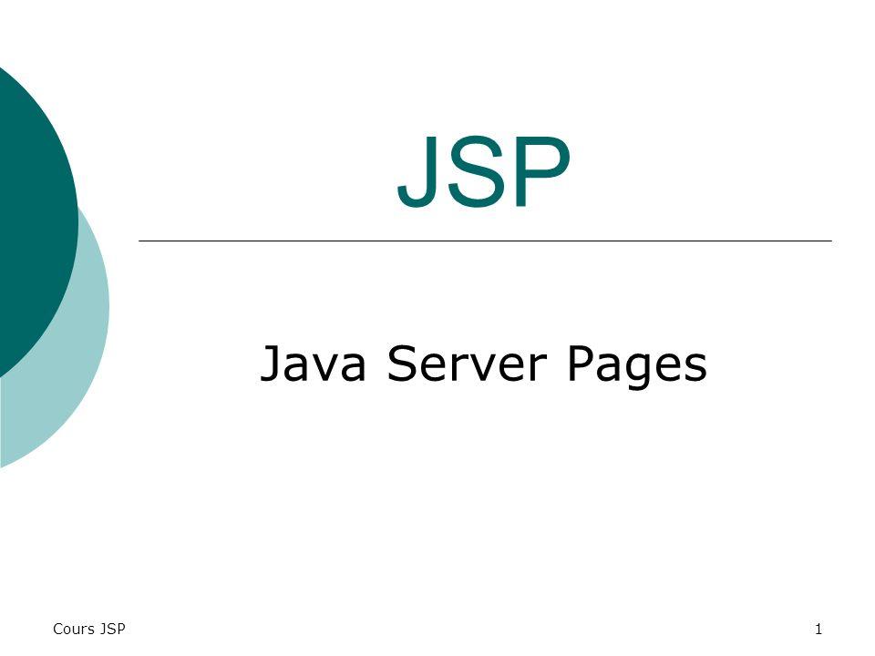 Cours JSP2 Introduction Afin dimplémenter les règles métiers, coté serveur dans une application Web, larchitecture Java propose trois solutions : En pur JAVA (servlets); À lintérieur de code HTML (pages JSP); Mixage des deux premiers solutions.
