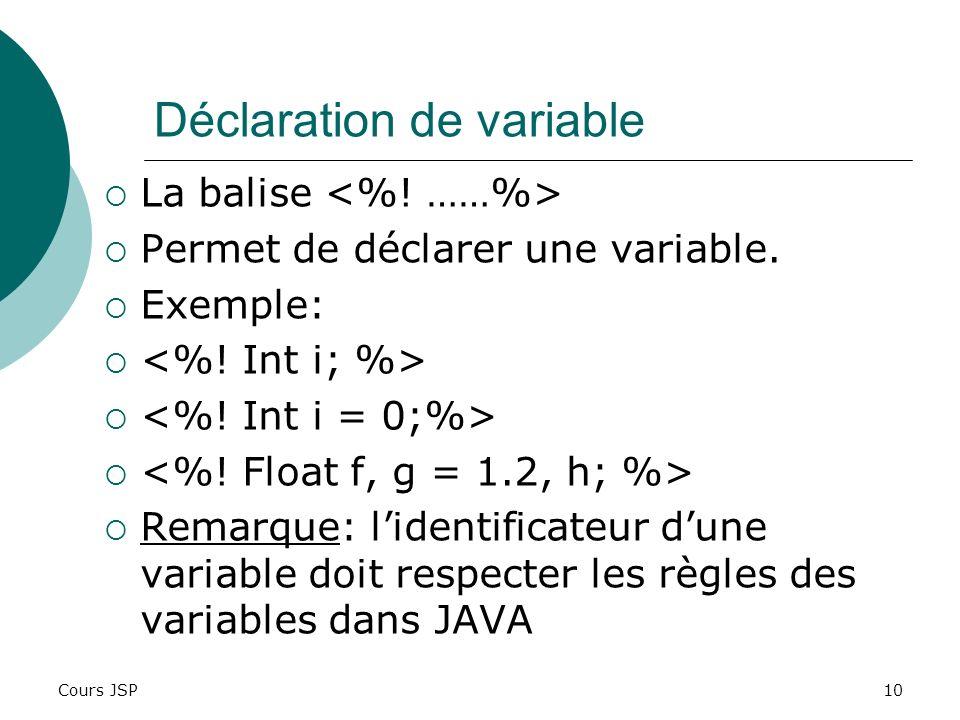 Cours JSP10 Déclaration de variable La balise Permet de déclarer une variable. Exemple: Remarque: lidentificateur dune variable doit respecter les règ