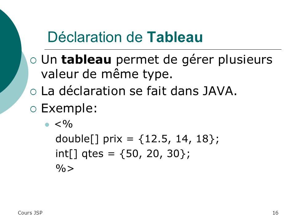 Cours JSP16 Déclaration de Tableau Un tableau permet de gérer plusieurs valeur de même type. La déclaration se fait dans JAVA. Exemple: <% double[] pr