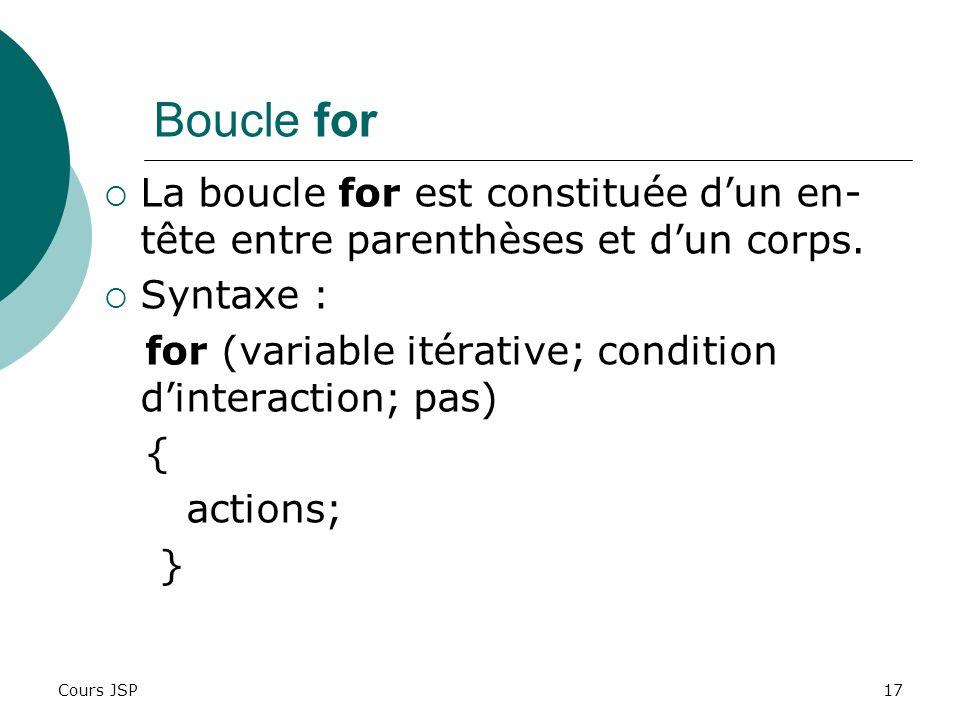 Cours JSP17 Boucle for La boucle for est constituée dun en- tête entre parenthèses et dun corps. Syntaxe : for (variable itérative; condition dinterac