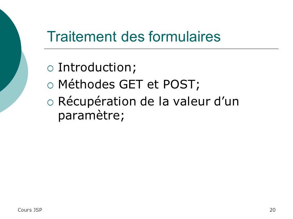 Cours JSP20 Traitement des formulaires Introduction; Méthodes GET et POST; Récupération de la valeur dun paramètre;
