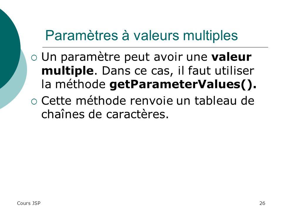 Cours JSP26 Paramètres à valeurs multiples Un paramètre peut avoir une valeur multiple. Dans ce cas, il faut utiliser la méthode getParameterValues().