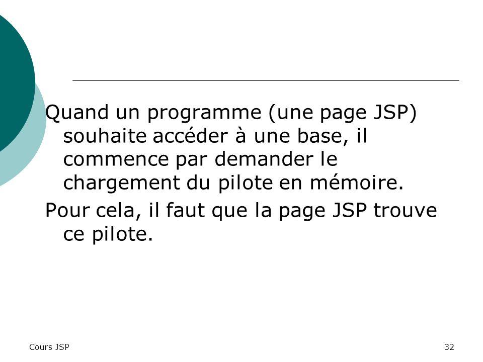 Cours JSP32 Quand un programme (une page JSP) souhaite accéder à une base, il commence par demander le chargement du pilote en mémoire. Pour cela, il