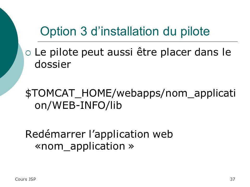 Cours JSP37 Option 3 dinstallation du pilote Le pilote peut aussi être placer dans le dossier $TOMCAT_HOME/webapps/nom_applicati on/WEB-INFO/lib Redém